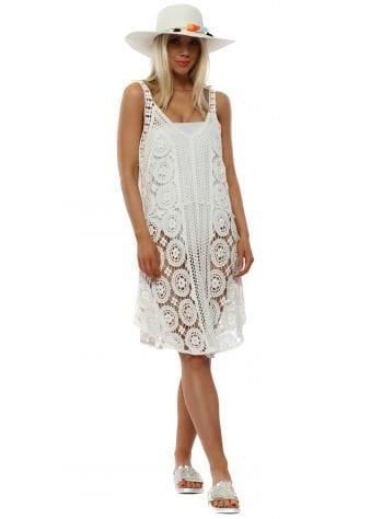 White Cotton Crochet Beach Dress