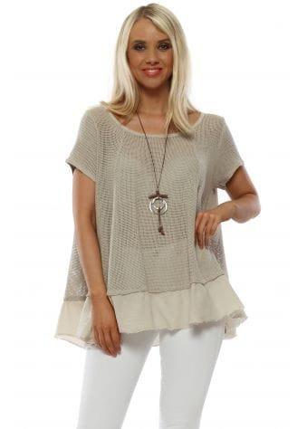 Beige Cotton Open Weave Necklace Top
