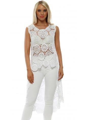 White Cotton Crochet Dip Hem Top