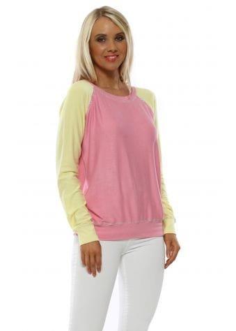 Kim Peach Melba Contrast Lurex Trim Raglan Sweater