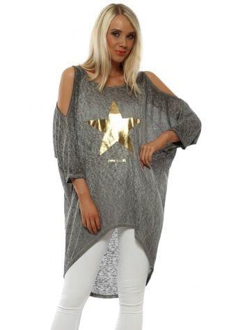 Gold Star Grey Slub Dip Hem Top