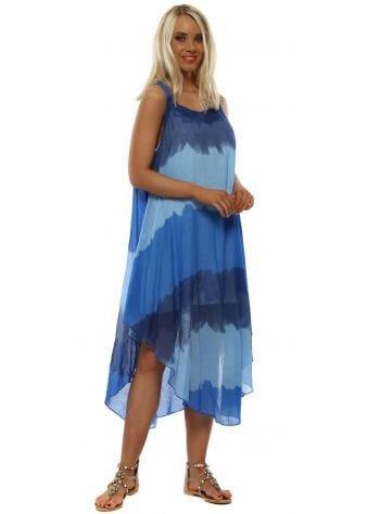 Blue Cotton Watercolour Stripe Dress