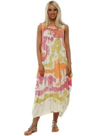 Orange & Pink Splatter Print Sleeveless Dress