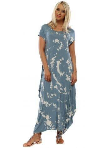 Blue Paint Splatter Parachute Dress