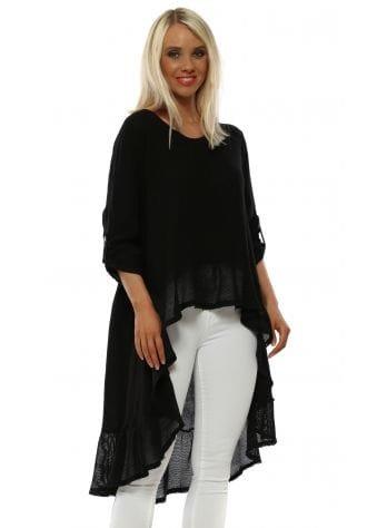 Black Linen Hi Lo Turn Up Sleeve Top