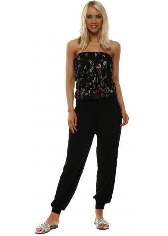 Black Embroidered Silk Ruffle Jumpsuit