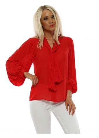 Red Pleated Tie Neck Blouse