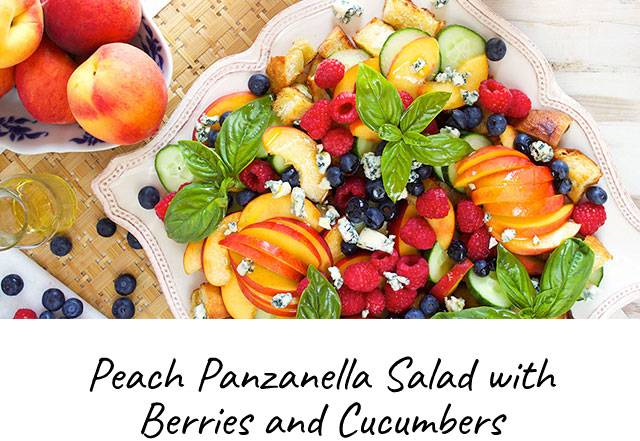 Peach Panzanella Salad with Berries and Cucumbers