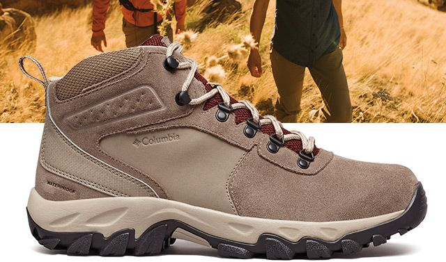 A tan Mens Newton Ridge Suede Waterproof hiking boot.