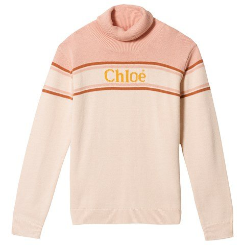 Chloé Pink Roll Neck Jumper with Chloe Logo