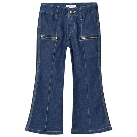 Chloé Blue Denim Flared Jeans with Zip