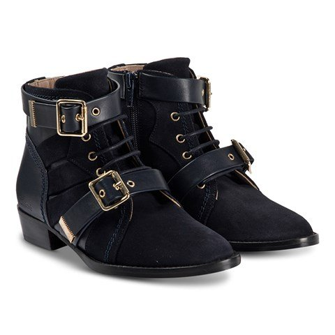 Chloé Navy Ankle Boots with Buckle Detail