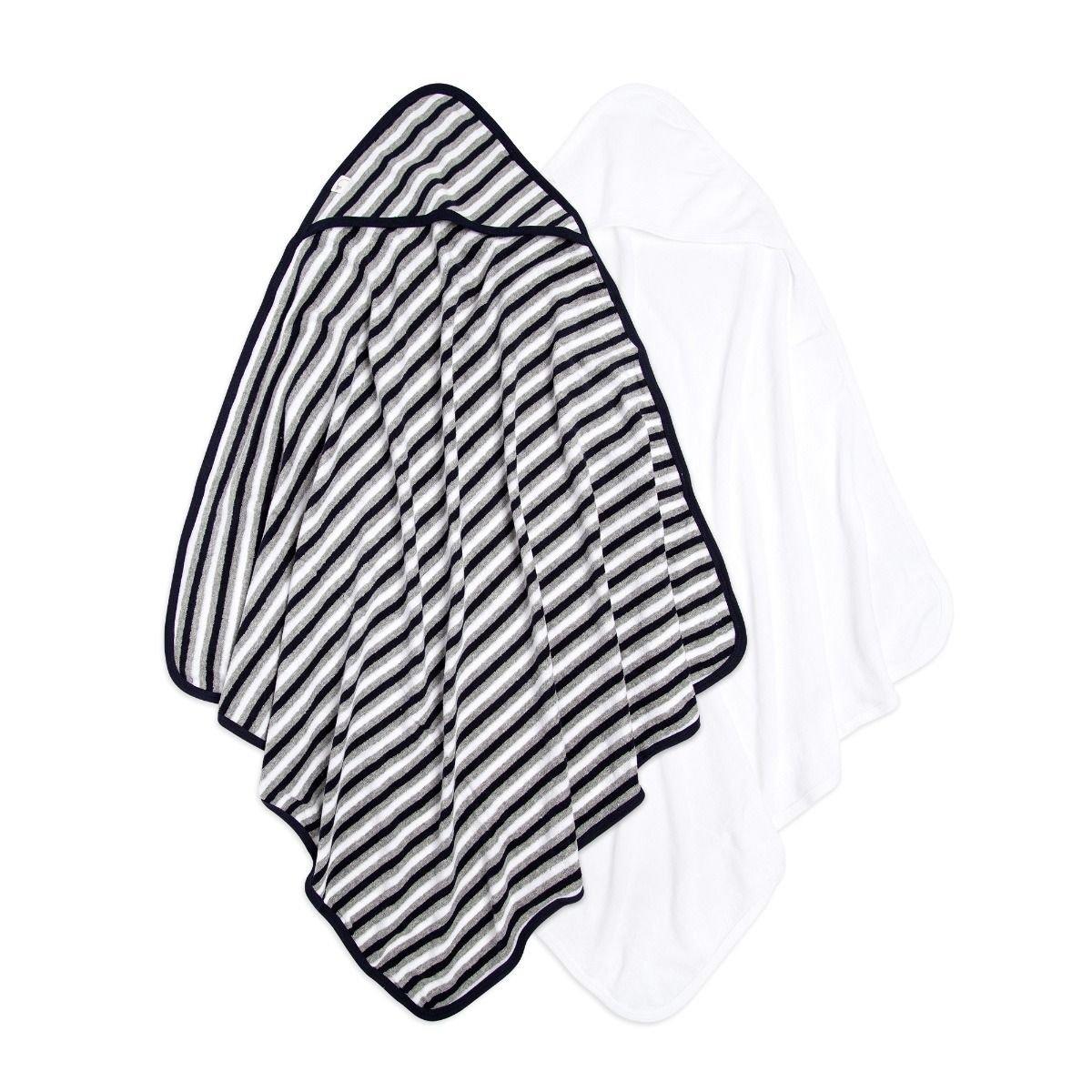 Set of 2 Baby Single Ply Multi Stripe Organic Hooded Towel