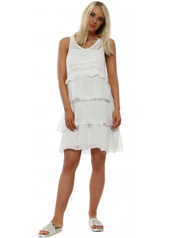 White Crochet & Silk Layer Beach Dress
