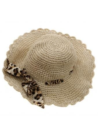 Beige Leopard Ribbon Straw Hat