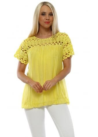 Canary Yellow Silk Pearl Crochet Top