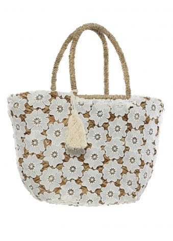 White Floral Lace Beach Basket