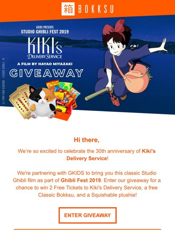 Bokksu: Win tickets to see Kiki's Delivery Service! | Milled