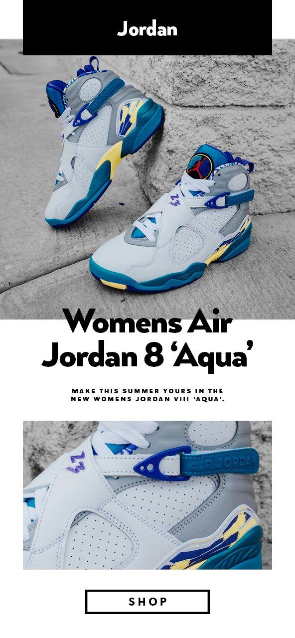 sale retailer da92b fee65 Shiekh: FRESH DROP   Women's Jordan 8 'Aqua'   Milled