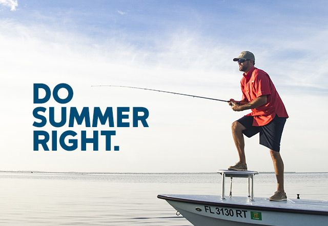 A man fishing from a boat. Do Summer Right..