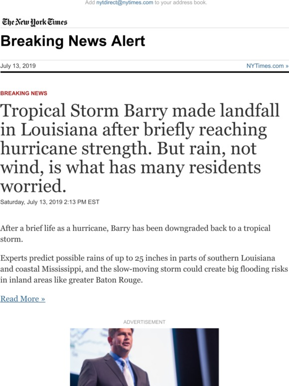 The New York Times: Breaking News: Tropical Storm Barry made