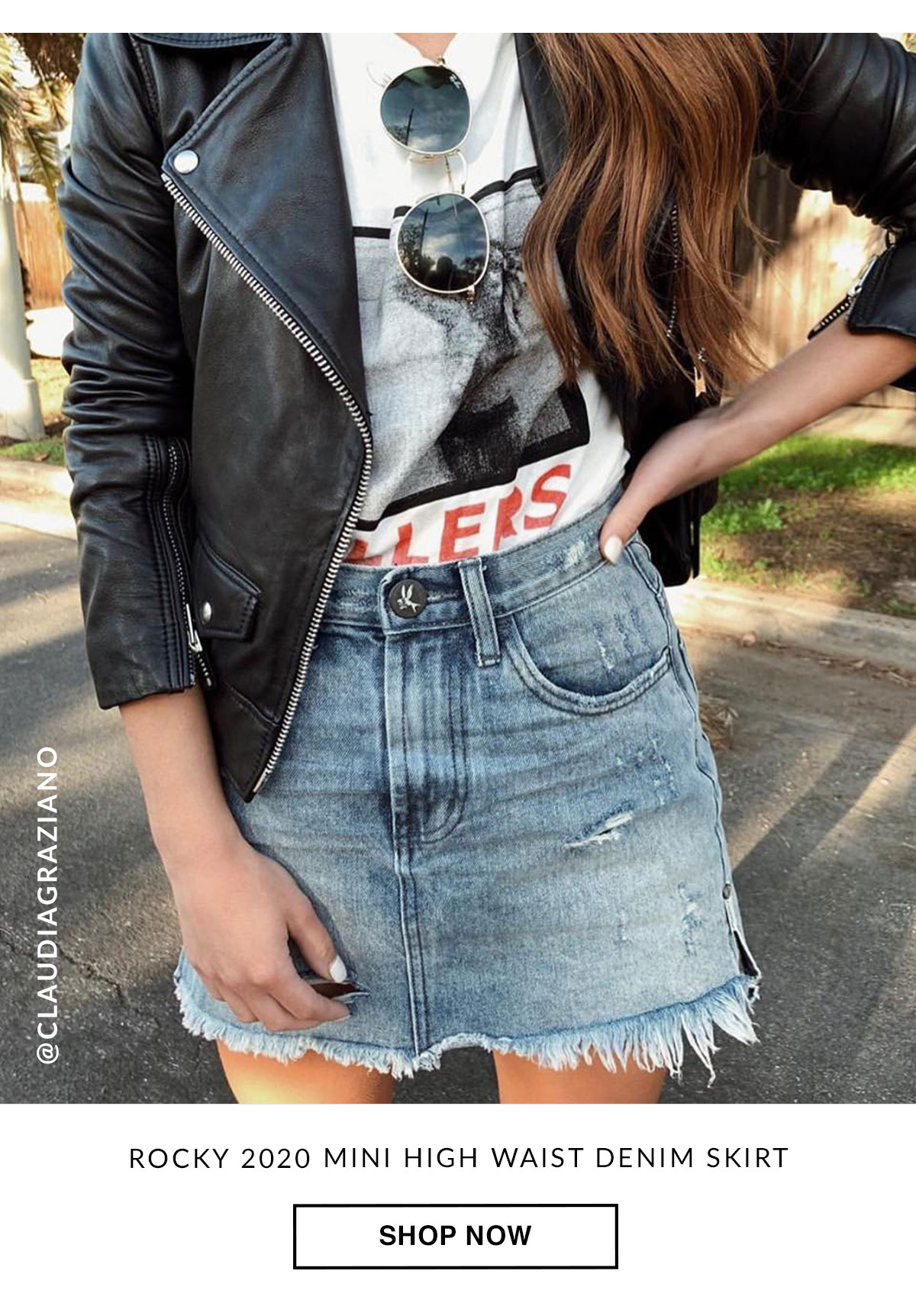 Rock 202 Mini High Waist Denim Skirt. Shop Now.