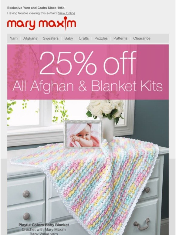 Mary Maxim (BCM second): Save 25% Off Afghan Kits! | Milled