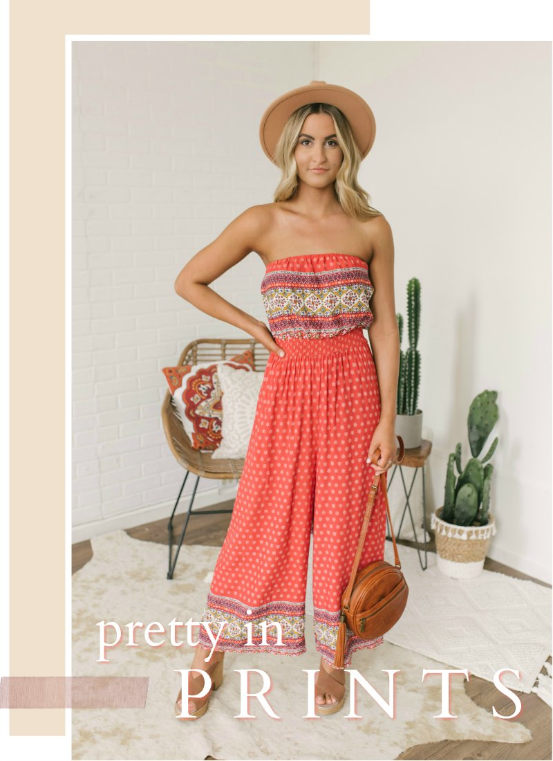 printed coral strapless jumpsuit