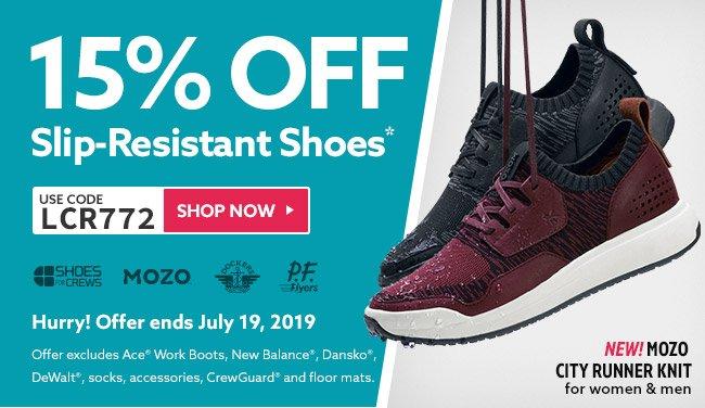 15% + Colorful Slip-Resistant Footwear