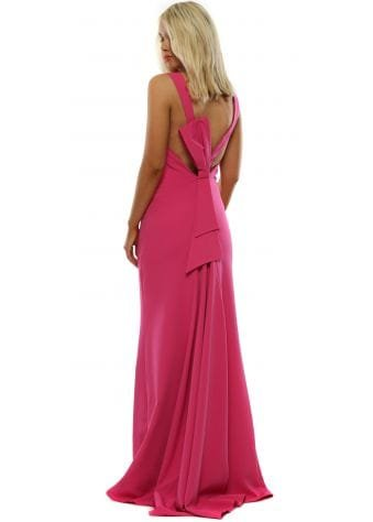 Vicky Pattison Pink Bow Back Maxi Dress