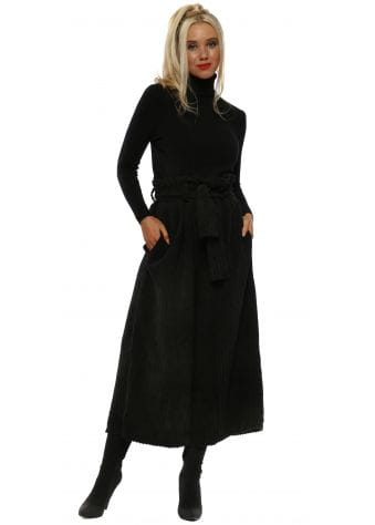 Black Cord High Waist Culottes