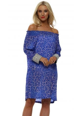 Cobalt Blue Leopard Silk Diamond Cuff Dress