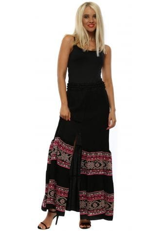 Black & Pink Inca Maxi Skirt