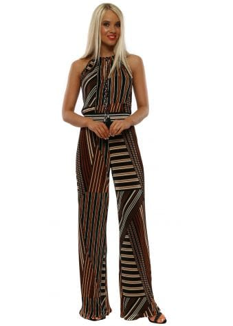 Tan & Amber Pleated Jumpsuit