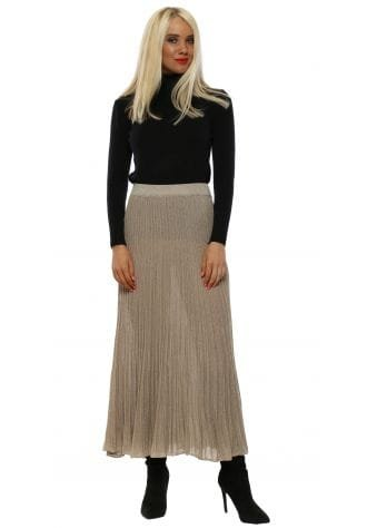 Pleated Gold Lurex Fine Knit Maxi Skirt