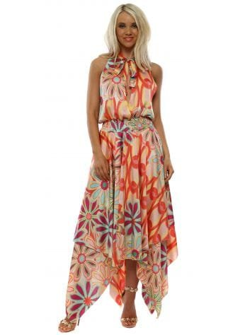 Coral Floral Halter Neck Handkerchief Dress
