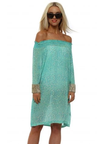 Aqua Leopard Silk Diamond Cuff Dress