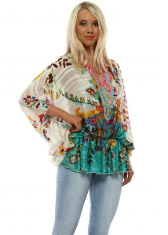 Green Floral Contrast Beaded Kaftan Top