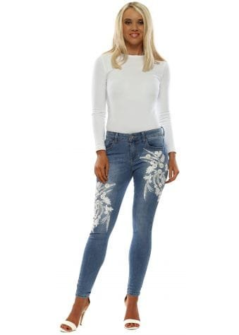 Blue Denim White Crystal Flower Skinny Jeans