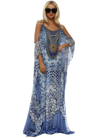 Santorini Blue & White Cold Shoulder Maxi Kaftan