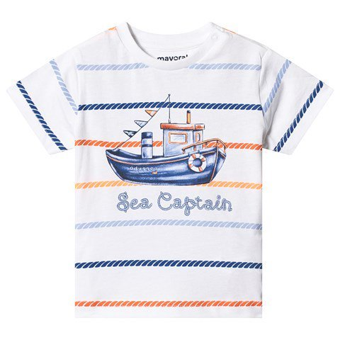 Mayoral White Sea Captain Boat Print T-Shirt