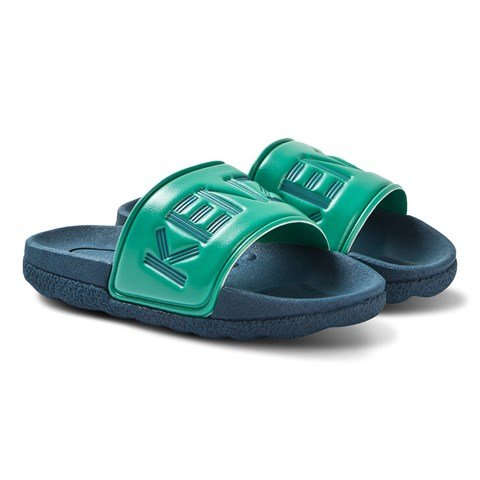 Kenzo Kids Navy and Green Branded Slides