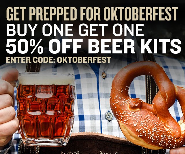 Buy One Get One 50% Off German Beer Recipe Kits. Promo Code: OKTOBERFEST