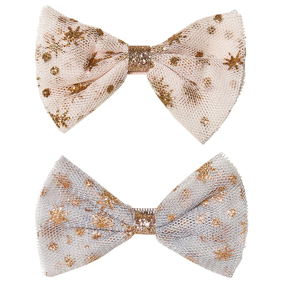 Mimi & Lula Pack of 2 Gold Glitter Ballerina Tutu Bow Hair Clips