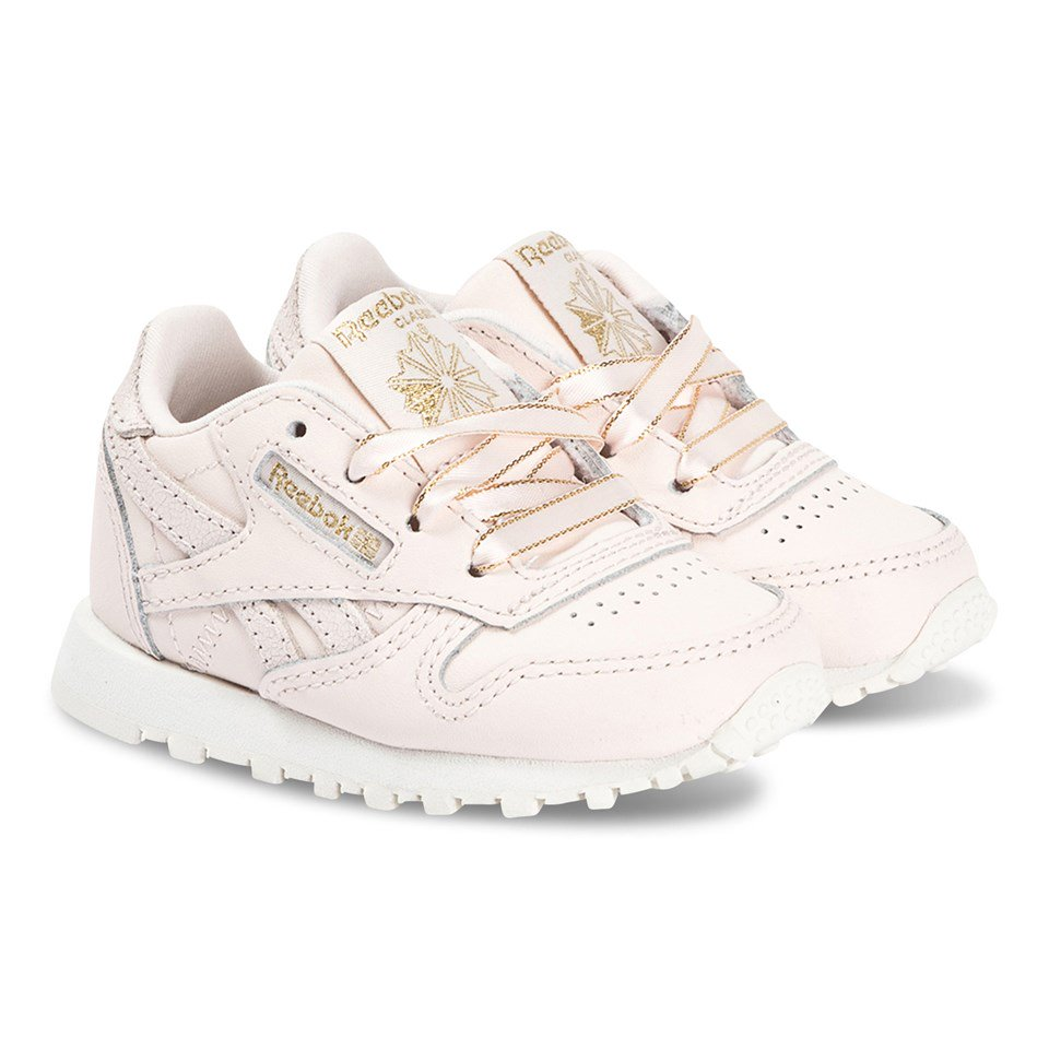 Reebok Pink Glitter Classic Infants Leather Trainers