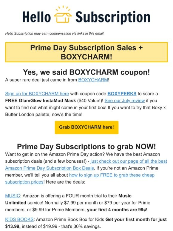 Hello Subscription: Prime Day Subscription Deals + BOXYCHARM
