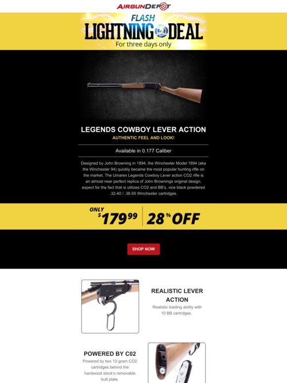 Airgun Depot: ⚡Save $70 on a Legends Cowboy Lever Action | Milled