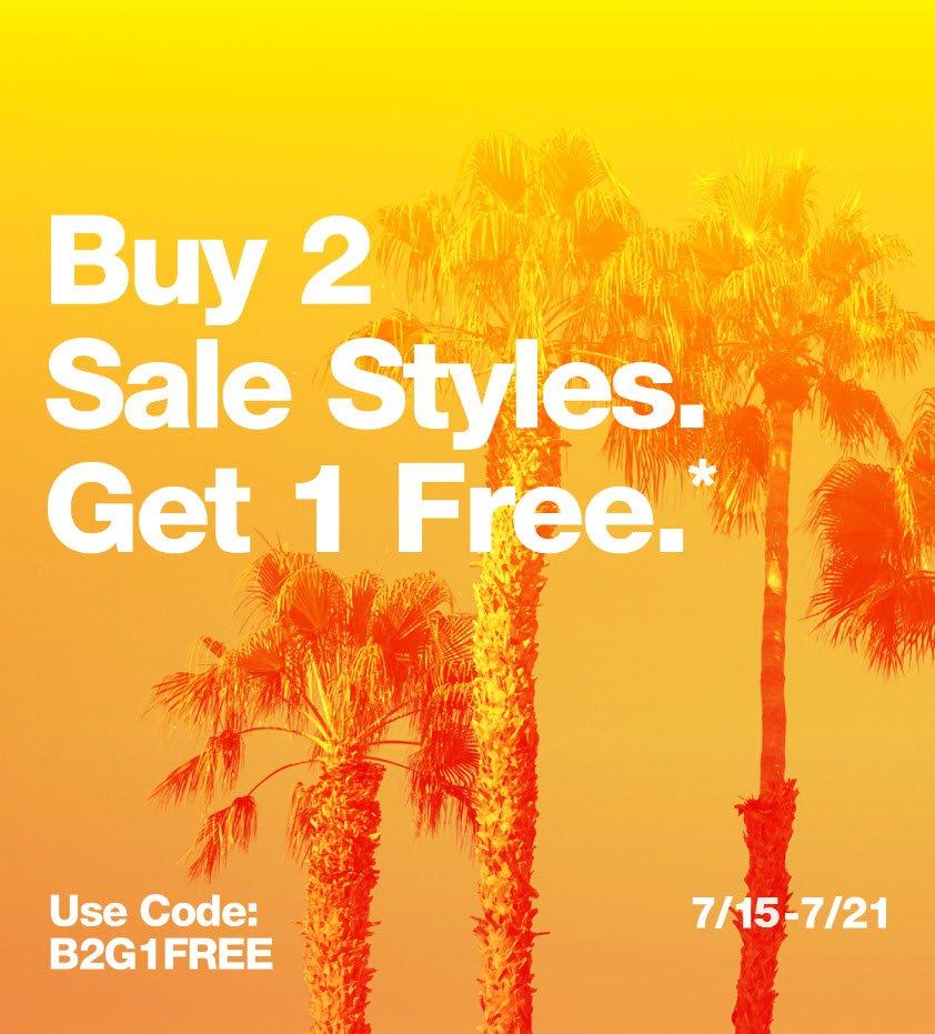 Buy 2 Sale Styles. Get 1 Free.