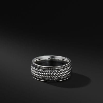 Maritime Rope Band in Sterling Silver with Black Diamonds