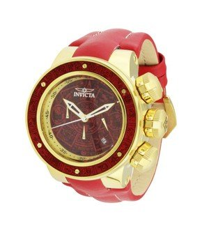 Invicta Subaqua Mens Quartz 52 mm Gold, Red Wood Case Gold, Red Wood Dial